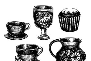 Hand drawn drinks set