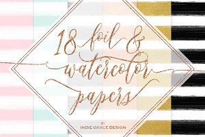 Watercolor Stripes Gold Foil Papers