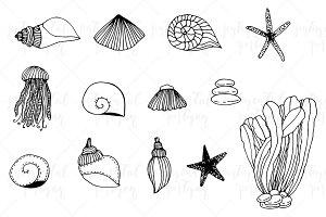 Set of sea doodles in vector.