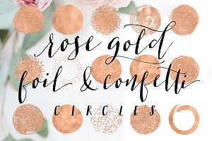 Rose Gold Foil & Confetti Circles