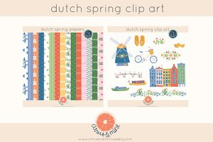 dutch spring clipart and papers