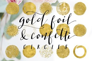 Gold Foil Confetti & Glitter Circles