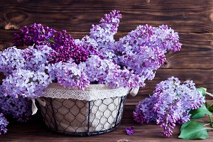 Lilac flowers in basket