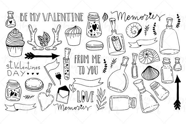 Set of doodles. Saint Valentine