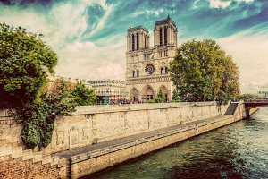 Notre Dame Cathedral in sunny day.