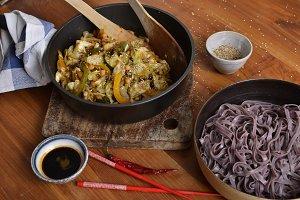 Black rice noodles side view