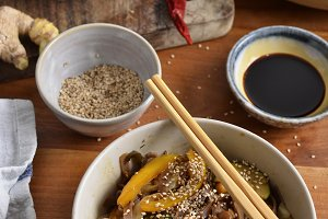 Black rice noodles with soy sauce