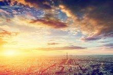 Paris panorama at sunset.