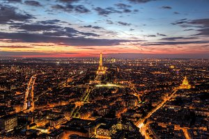 Paris panorama at sunset.