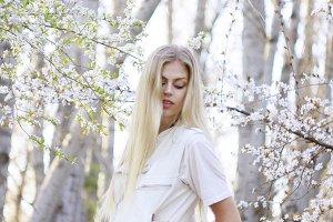 spring blossom dreamy portrait