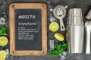 Drink making tools ingredients