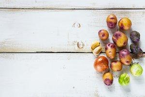 Organic vegetables on white