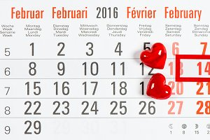 Calendar with red hearts