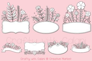 Romantic Floral Frame Digital Stamp