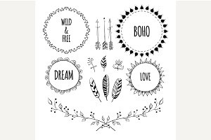 Boho Style Frames and design element