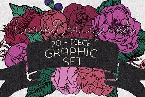 MAJOR SALE -Love Bouquet Graphic Set