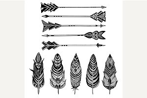 Set of Arrows and feathers