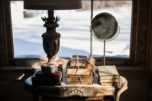 Vintage Books & Mirror at Sunset