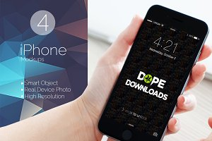 4 Desktop View iPhone Mockups