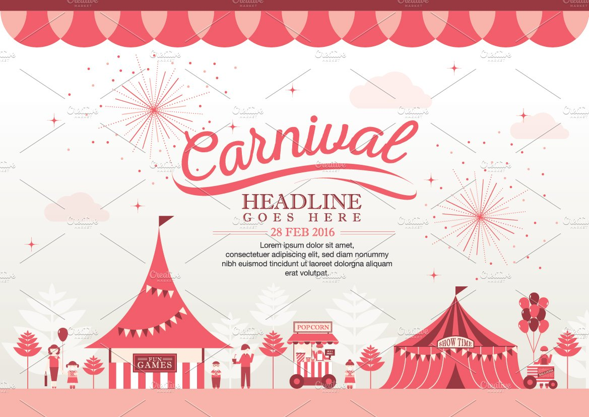 carnival theme template design illustrations creative market