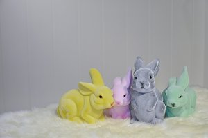 Colored plastic furry bunnies
