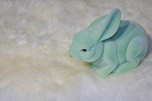 testClose-up green plastic fur bunny