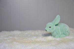 Green plastic furry bunny