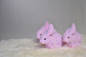Pink plastic furry bunnies