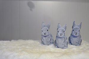 Grey plastic furry bunnies