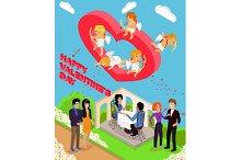 Isometric 3d Family Love Hearts