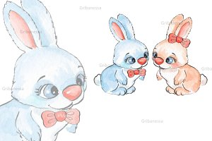 Cartoon rabbits. Watercolor 1