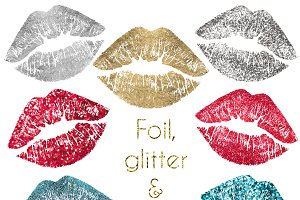 Foil, glitter &sequin lips