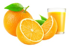 Cut oranges and glass of juice