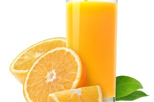Isolated glass of orange juice
