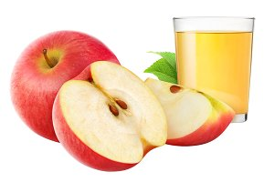 Apple juice and red apples isolated