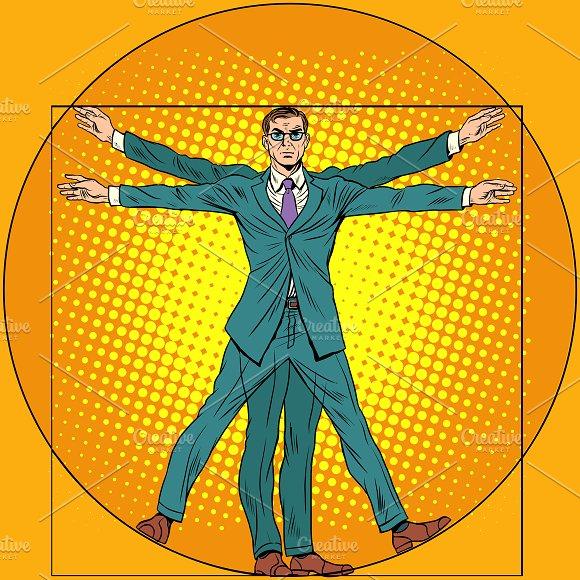 businessman Vitruvian man