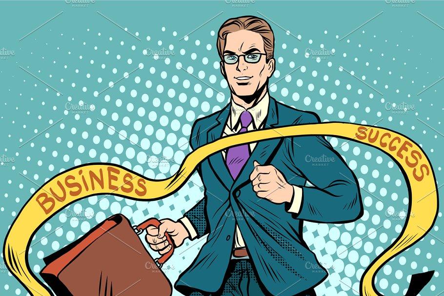 Finish line businessman