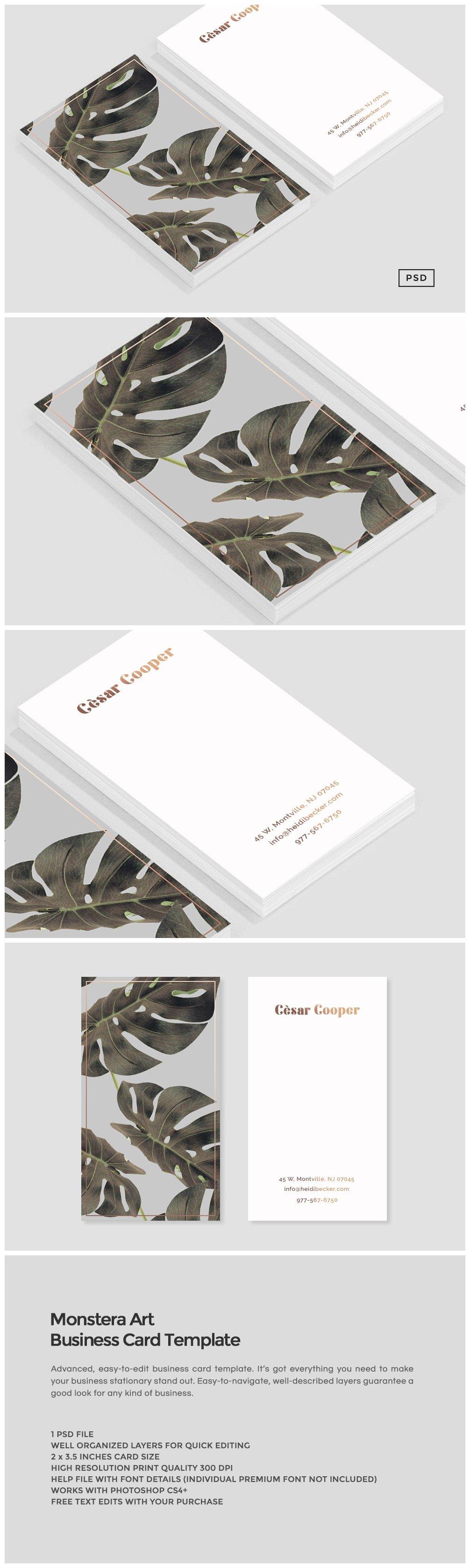 Monstera Art Business Card Template Business Card Templates - Quick business card template