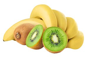 Isolated kiwi and banana bunch