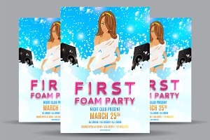 Foam party flyer with beautiful girl