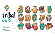 Tribal owls pattern