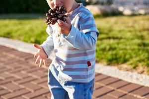 Baby boy child plays on playground