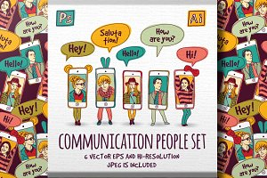 Communications vector people set
