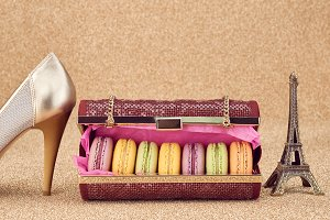 Macarons in handbag, Eiffel Tower