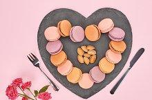 Still life,macarons,heart shape.Love