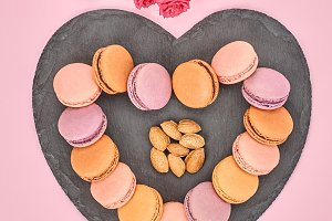 Still life,macarons,heart shape.Love