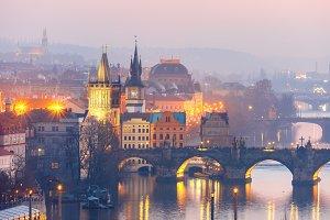 Vltava River and bidges in Prague