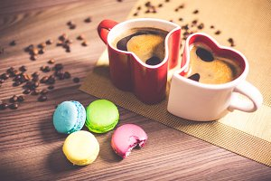 Coffee in Heart Cups and Sweet Yummy