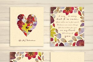 Flowery Valentine's Day Cards Set
