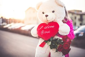 Lady with Love Teddy Bear and Roses